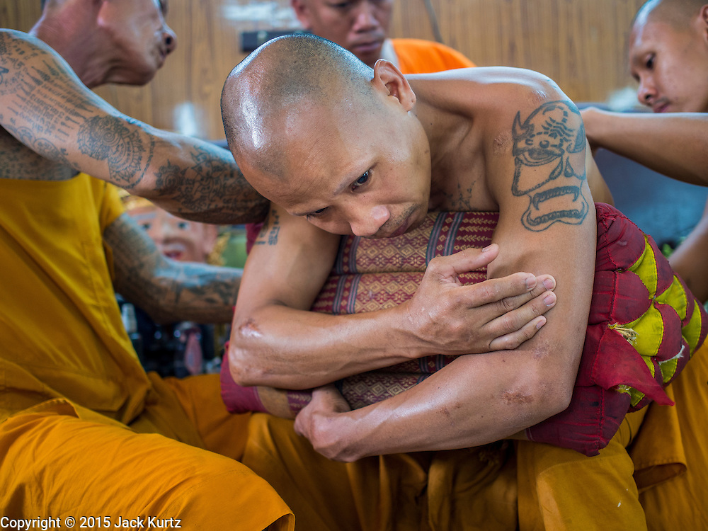 """07 MARCH 2015 - NAKHON CHAI SI, NAKHON PATHOM, THAILAND: A Buddhist monk gets a Sak Yant tattoo during the Wat Bang Phra tattoo festival. Wat Bang Phra is the best known """"Sak Yant"""" tattoo temple in Thailand. It's located in Nakhon Pathom province, about 40 miles from Bangkok. The tattoos are given with hollow stainless steel needles and are thought to possess magical powers of protection. The tattoos, which are given by Buddhist monks, are popular with soldiers, policeman and gangsters, people who generally live in harm's way. The tattoo must be activated to remain powerful and the annual Wai Khru Ceremony (tattoo festival) at the temple draws thousands of devotees who come to the temple to activate or renew the tattoos. People go into trance like states and then assume the personality of their tattoo, so people with tiger tattoos assume the personality of a tiger, people with monkey tattoos take on the personality of a monkey and so on. In recent years the tattoo festival has become popular with tourists who make the trip to Nakorn Pathom province to see a side of """"exotic"""" Thailand.   PHOTO BY JACK KURTZ"""