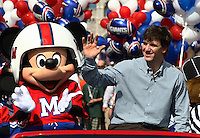 Feb 6, 2012;  Lake Buena Vista, FL, USA; New York Giants quarterback and Super Bowl XLVI most valuable player Eli Manning participates in a ticker-tape parade on Main Street at Walt Disney World's Magic Kingdom.