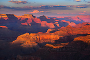 Sunset on the Grand Canyon as viewed from Hopi Point on the South Rim.