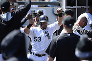 CHICAGO - APRIL 11:  Melky Cabrera #53 of the Chicago White Sox celebrates with teammates in the dugout during the game against the Minnesota Twins on April 11, 2015 at U.S. Cellular Field in Chicago, Illinois.  (Photo by Ron Vesely)   Subject:   Melky Cabrera