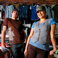 05/02/07--TAMPA--Bradley Hoffmann (left) and Tricia Thurman (right) co-own Neo Trash in Ybor City featuring local art and clothing designs and some west coast, east coast designs. The pair opened the store about a year ago. Photo by Julie Busch/staff