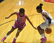 "Ole Miss' Amber Singletary (20) vs. Georgia's Shacobia Barbee (20) in women's basketball at the C.M. ""Tad"" Smith Coliseum in Oxford, Miss. on Sunday, February 24, 2013. Georgia won 73-54."