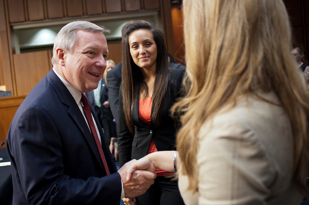 "Senator DICK DURBIN (D-IL) greets proponents of the DREAM Act before a Senate Judiciary Committee hearing on ""The DREAM (Development, Relief and Education for Alien Minors) Act."""