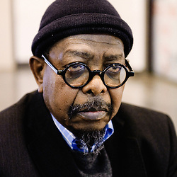 Director Mahama Johnson Traore's portrait during Brussels' Festival des Cinemas Africains (African Film Festival). Commune d'Ixelles, Brussels. April 4, 2009. Photo : Antoine Doyen