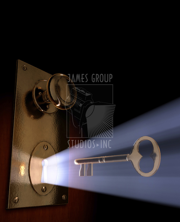 Conceptual 3D art of a key moving towards the key hole.