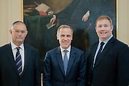 Governer of the Bank of England Mark Carney visits RHASS, Ingliston, Edinburgh.<br /> L-R Keith Brook, Chairman RHASS , Gov Mark Carney, Alan Laidlaw, Chief Eesc RHASS