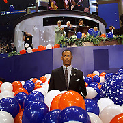 A US Secret Service agent stands post as Republican presidential candidate, Texas Gov. George W. Bush, accepts his party's nomination at the Republican National Committee (RNC) Convention August 3, 2000, in Philadelphia, Pennsylvania (PA)...Photo by Khue Bui.