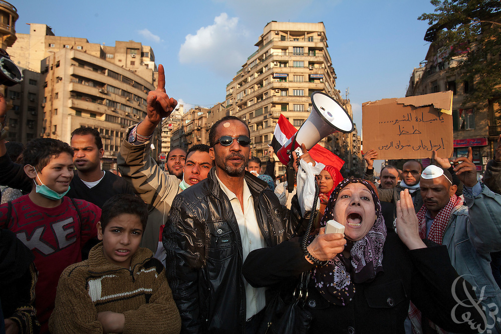 Egyptian protestors occupy Tahrir square during continuing November 21, 2011 protests in central Cairo, Egypt. Thousands of protestors demanding the military cede power to a civilian government authority clashed with Egyptian security forces for a third straight day in Cairo, with hundreds injured and at least 24 protestors killed.  (Photo by Scott Nelson)