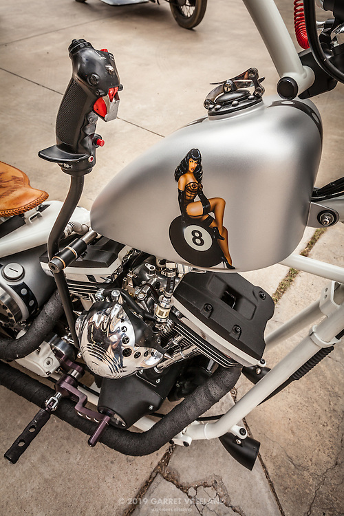Pilot's joystick on custom motorcycle, Planes and Cars at the Santa Fe Airport, 2013 Santa Fe Concorso.