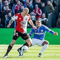 ROTTERDAM  - Feyenoord - PSV , eredivisie , voetbal , Feyenoord stadion de Kuip , seizoen 2014/2015 , 22-03-2015 , Feyenoord speler Lex Immers (l) in duel met PSV speler Karim Rekik (r)