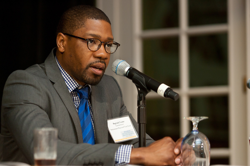 Reginald D. Tucker, MBA, CAIA, Investment Officer: Alternatives, Connecticut Retirement Plans and Trust Funds during panel discussion at the SEO 2nd Annual Alternative Investment Conference held May 17, 2011 at the Essex House Hotel in New York. Organized by Sponsors for Educational Opportunity (SEO), the conference is part of SEO's Alternative Investments Program, which includes the Alternative Investment Fellowship Program (AIFP), an initiative launched in 2009.  The AIFP is an educational program for young professionals from backgrounds traditionally underrepresented in the alternative investments industry.  The AIFP combines workshops, training and mentoring to strengthen Fellows as candidates for positions in private equity and other alternative investments.  The program also improves Fellows' skills as analysts by exploring strategic decisions involved in transactions from the client's point of view.