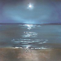 A full moon rises over Morro Bay.<br />