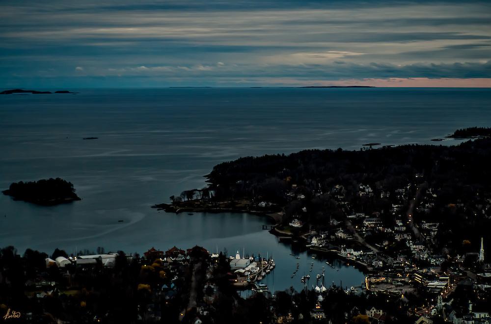 Camden Harbor Maine at twilight.