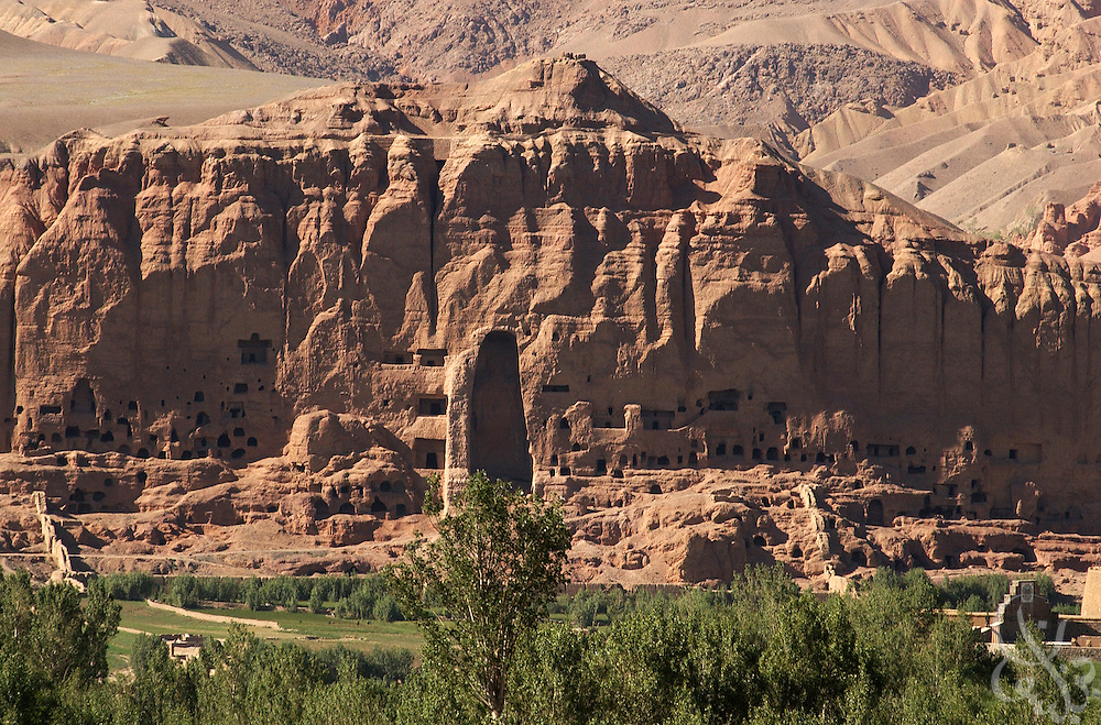 The site of the famed Bamiyan giant Buddha statues is seen June 17, 2002 in Bamiyan, Afghanistan. Bamiyan was famed for the giant Buddha statues that were carved centuries ago in the cliffs seen here before they were destroyed by taliban fighters in 1991.
