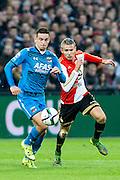 ROTTERDAM - Feyenoord - AZ , Voetbal , Eredivisie, Seizoen 2015/2016 , Stadion de Kuip , 25-10-2015 , AZ speler Vincent Janssen (l) in duel met Speler van Feyenoord Sven van Beek (r)