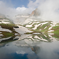Reflection, clearing summer sunrise storm, Ice Lakes Basin