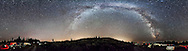A 360° panorama of the sky ad Milky Way as seen from the summit of Mount Kobau near Osoyoos, BC, Canada at the Mt Kobau Star Party, July 28, 2014. This is a stitch with PTGui of 8 segements, 45° apart, each 50 seconds, with the 14mm Rokinon lens at f/2.8 and Canon 6D at ISO 6400. All on a fixed tripod, no tracking. Light pollution from Osoyoos and Oliver light the sky at centre. The centre of the Milky Way is at right in Sagittarius, the Big Dipper and Arcturus are at left.