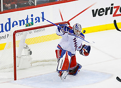 April 9, 2008; Newark, NJ, USA;  New York Rangers goalie Henrik Lundqvist (30) makes a blocker save during the second period of game 1 of the Eastern Conference Quarterfinal playoffs at the Prudential Center in Newark, NJ.