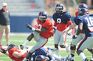 Mark Dodson runs during Ole Miss football scrimmage at Vaught-Hemingway Stadium in Oxford, Miss. on Saturday, April 6, 2013.