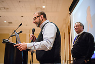 The Rev. Bart Day, executive director of LCMS Office of National Mission, introduces the Rev. Dr. Matthew C. Harrison, president of The Lutheran Church–Missouri Synod, at the Liberty National LCMS Campus Ministry Conference on Thursday, Jan. 5, 2017, at the University of Maryland in College Park, Md. LCMS Communications/Erik M. Lunsford