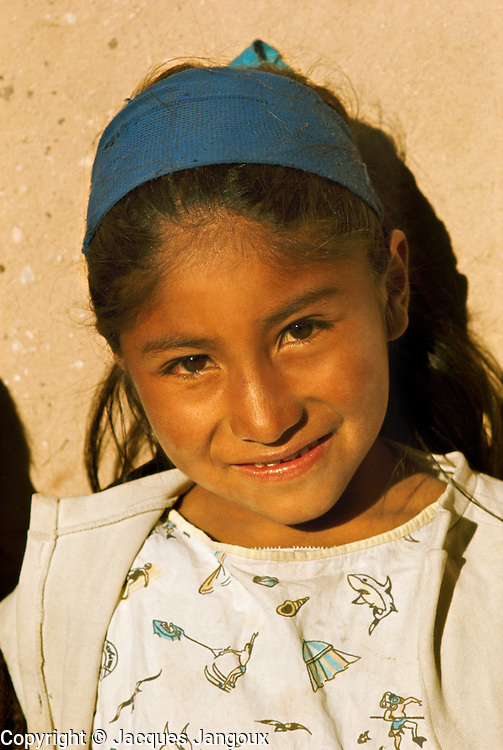 Indian girll in the Andes in Tarapaca Provice in Northern Chile.