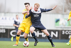 Queen of the South's Ian McShane and Falkirk's Mark Beck.<br /> Half time : Falkirk 0 v 0 Queen of the South, Scottish Championship game today at the Falkirk Stadium.<br /> &copy; Michael Schofield.