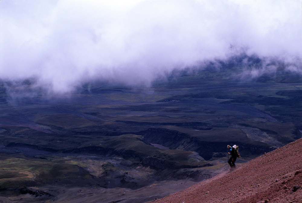 Climber descends Cotopaxi volcano in Ecuador.