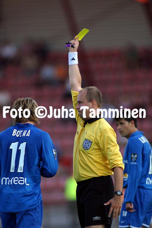 11.08.2002, Pori, Finland..Veikkausliiga 2002 / Finnish League 2002..FC Jazz Pori v Myllykosken Pallo-47.Erotuomari / Referee Mika Salo.©Juha Tamminen