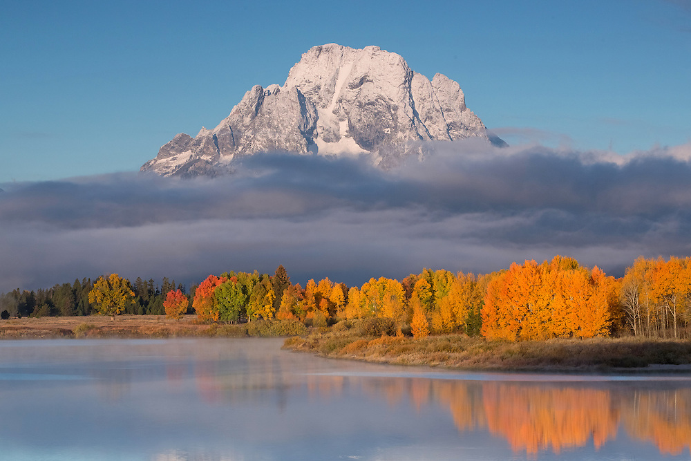 Mount Moran rising above a spectacular display of autumn leave is one of the many reasons that Oxbow Bend has become one of the most popular photographic destinations in Grand Teton National Park.