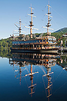 Pirate Ship on Lake Ashi- known as Ashinoko is a scenic lake in Hakone. The lake is known for its views of Mt. Fuji.  Several ferries cruise the lake, providing scenic views for passengers. One of the boats is a full-scale replica of a man-of-war pirate ship.. A number of pleasure boats and ferries traverse Lake Ashi or Ashinoko on which passengers can enjoy the scenic views.  Several of the boats are replicas of pirate ships which is designed somehow to enhance the excursion - though Hakone has never been known as an enclave of pirates one can only wonder at the reason for the decorations on these boats.