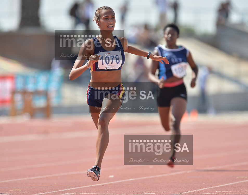 CAPE TOWN, SOUTH AFRICA - Saturday 5 March 2016, Robyn Haupt in the women's U20 100m final during the Western Province Athletics Junior &amp; U23 Track and Field athletic championships at the Vygieskraal Athletics Stadium in Athlone. <br /> Photo by Roger Sedres/ImageSA