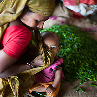 A mother and vegatable seller wipes her infant childs nose with her scarf in the municipal market in Srimongol in the tea growing region of north east Bangladesh