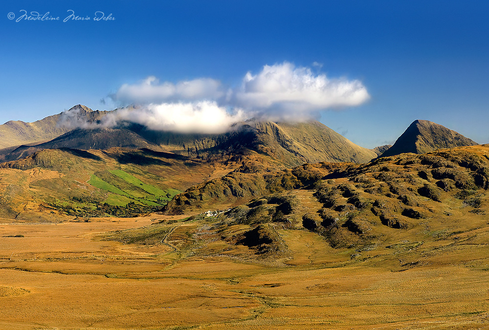 A sunny Mountain Panorama - Carrauntoohil is a highest peak in ireland, located in county kerry- Killarney National Park, iveragh peninsula. It is the central peak of the Macgillycuddy's Reeks range.