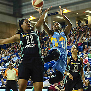 New York Liberty Guard AMERYST ALSTON (22) attempts to block Chicago Sky Guard JAMIERRA FAULKNER (21) shot attempt in the fourth period of a WNBA preseason basketball game between the Chicago Sky and the New York Liberty Sunday, May. 01, 2016 at The Bob Carpenter Sports Convocation Center in Newark, DEL