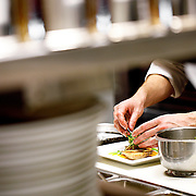 "SHOT 2/20/12 6:06:40 PM - A line cook works on a potsticker plate at TAG restaurant on Larimer Square in downtown Denver, Co. TAG is owned and operated by chef/owner Troy Guard. TAG features what they term ""continental social food"" and features influences from numerous continents. .(Photo by Marc Piscotty / © 2012)"