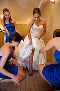 Bride gets ready for her wedding at the Church of the Nativity, Menlo Park, CA.