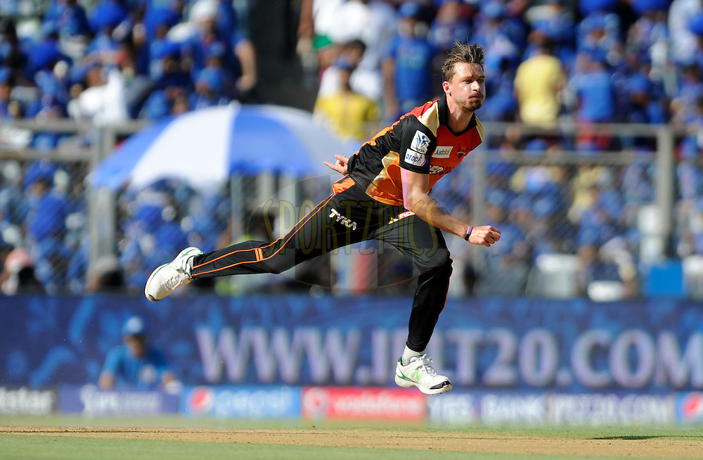 Dale Steyn of Sunrisers Hyderabad bowls during match 23 of the Pepsi IPL 2015 (Indian Premier League) between The Mumbai Indians and The Sunrisers Hyferabad held at the Wankhede Stadium in Mumbai India on the 25th April 2015.<br /> <br /> Photo by:  Pal Pillai / SPORTZPICS / IPL
