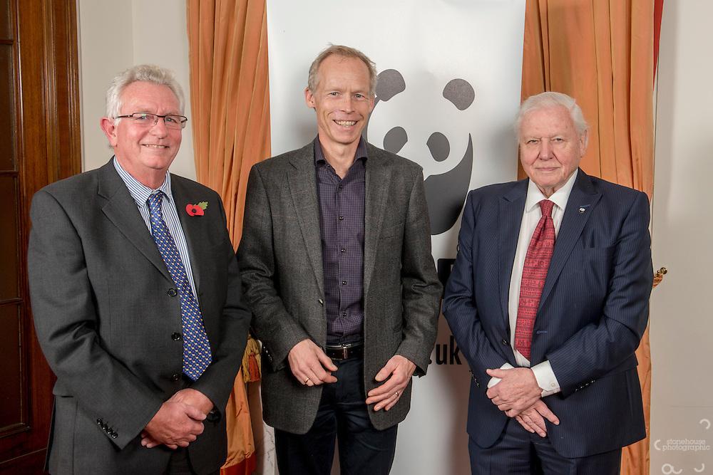Keith Scholey, Johan Rockstrom and Sir David Attenborough at the Inaugural WWF Living Planet Lecture at The Royal Society, London. 3/11/2016