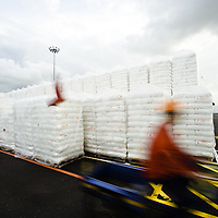 Polymers in laydown area at Palau Ayer Chawan refinery, awaiting shipment, Jurong Island.  Polymers are used to make OPP films for flexible plastics and labels for consumer beauty products, food and drink, and pharmaceutical packaging.