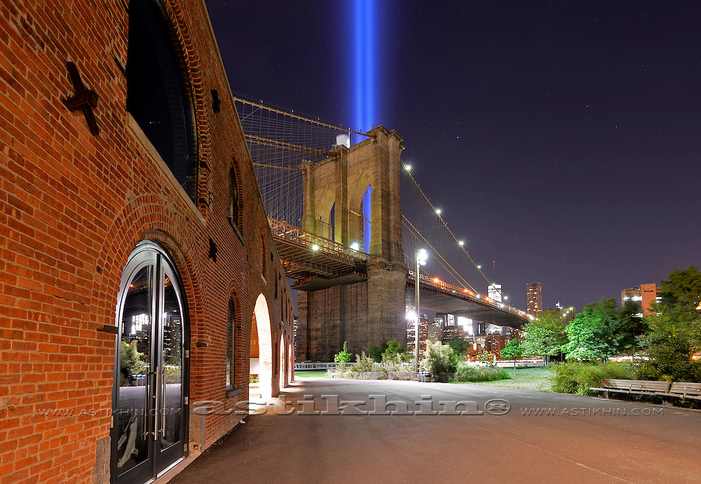 Tribute in Light from Brooklyn Bridge Park. 2016. Brooklyn, New York City.
