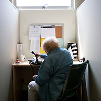 Peggy Mullin volunteers as Fraud Fighters at the WISE and Healthy Aging facility in Santa Monica, CA where they phone senior citizens to warn them of phone fraud.
