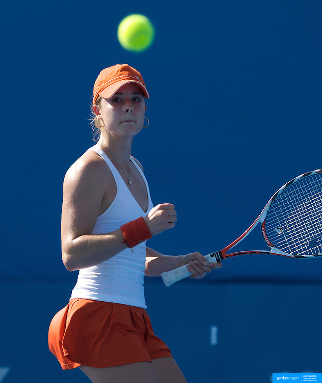 Alize Cornet of France on her way to victory over Alisa Kleybanova of Russia in the second round  of the Medibank International Sydney Tennis Tournament on January 13, 2009 in Sydney, Australia. Photo Tim Clayton