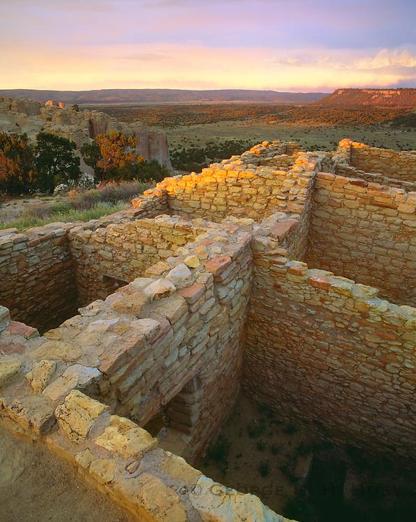 0207-1010 ~ Copright: George H. H. Huey ~ Atsinna Pueblo Ruin, Fortified Anasazi Culture site, ca. A.D. 1275-1350. [Near top of Inscription Rock], El Morro National Monument, New Mexico.