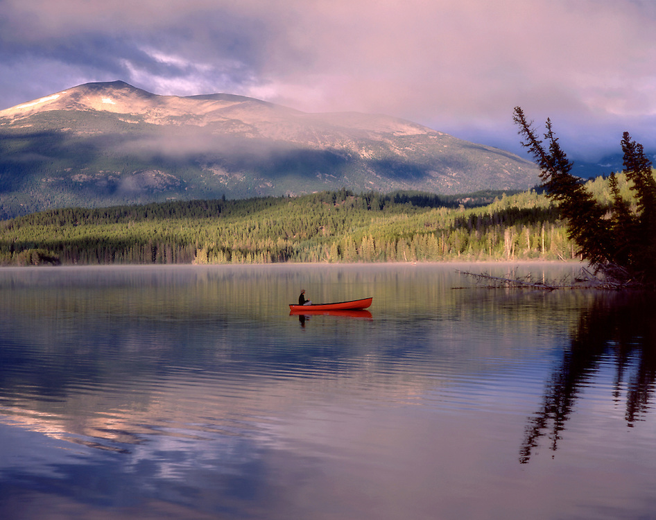 Canoe on Clearwater Laker, Chilcotin Country, Rocky Mountains, British Columbia, Canada