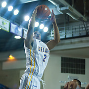 Delaware Forward Marvin King-Davis (21) attempts a lay-up in the second half of a regular season NCAA basketball game against George Mason Saturday, March 2, 2013 at the Bob Carpenter Center in Newark Delaware.