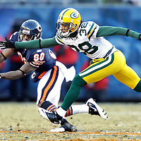 .Green Bay Packers' Tramon Williams defended on a Chicago Bears' Todd Collins pass attempt to Earl Bennett on the 3rd quarter. .The Green Bay Packers traveled to Soldier Field in Chicago to play the Chicago Bears in the NFC Championship Sunday January 23, 2011. Steve Apps-State Journal.