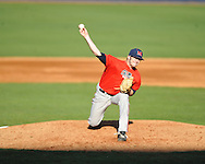 Bobby Wahl pitches at Ole Miss' baseball practice at Oxford-University Stadium  in Oxford, Miss. on Thursday, February 2, 2012.