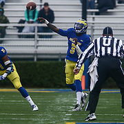 Delaware quarterback JOE WALKER (3) attempts a pass during a week eight game between the Delaware Blue Hens and the Stony Brook Seawolves, Saturday, Oct. 22, 2016 at Tubby Raymond Field at Delaware Stadium in Newark, DE.