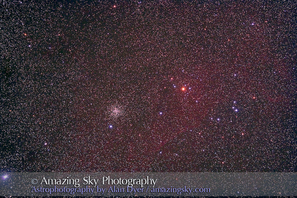 NGC 2477 (rich cluster at left) and NGC 2451 (loose cluster at right) thru 77mm Borg f/4 astrograph refractor and Canon 5D camera for stack of 4 x 4 minute exposures at ISO 800. Taken from Ryder Homestead, NSW, Australia, April 11, 2007.