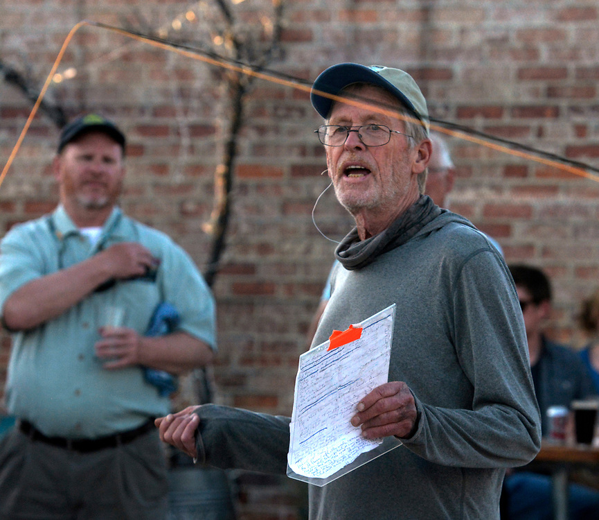 gbs042017d/ARTS -- Taylor Streit, fly-fishing guide and author, gives instructions during a casting demonstration for the Bosque Chapter Trout Unlimited at the Rio Bravo Brewery on Thursday, April 20, 2017. (Greg Sorber/Albuquerque Journal)